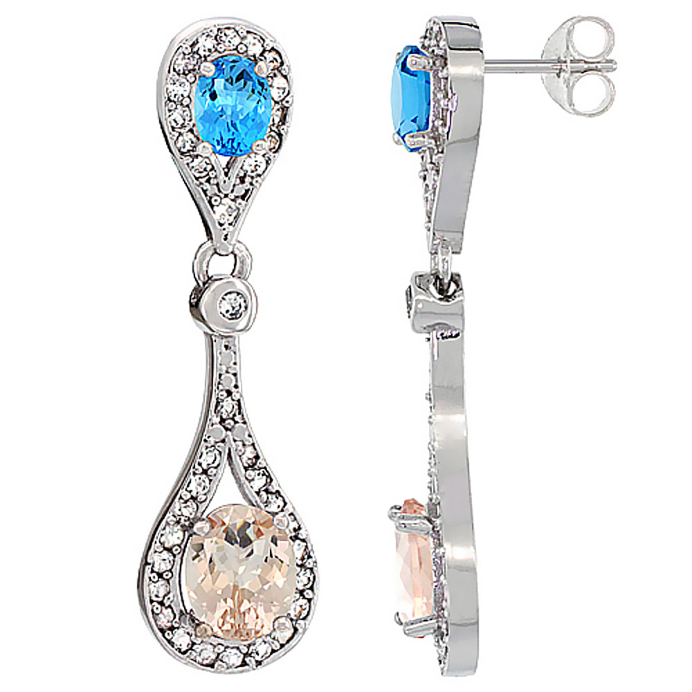 14K White Gold Natural Morganite & Swiss Blue Topaz Oval Dangling Earrings White Sapphire & Diamond Accents, 1 3/8 inches long