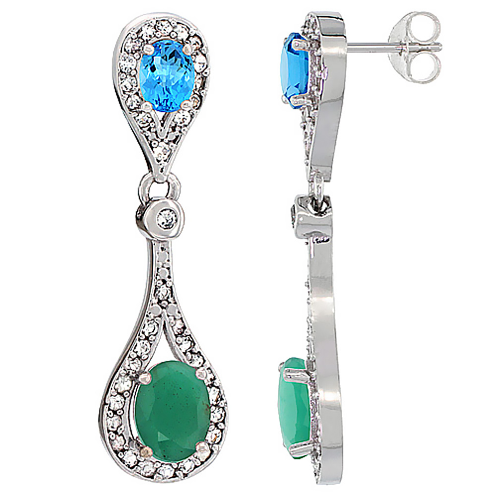 14K White Gold Natural Emerald & Swiss Blue Topaz Oval Dangling Earrings White Sapphire & Diamond Accents, 1 3/8 inches long