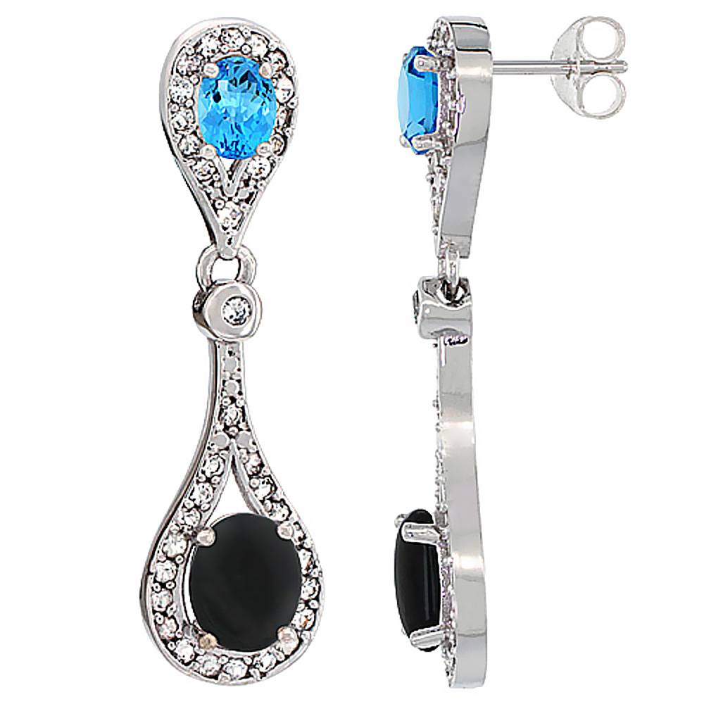 14K White Gold Natural Black Onyx & Swiss Blue Topaz Oval Dangling Earrings White Sapphire & Diamond Accents, 1 3/8 inches long