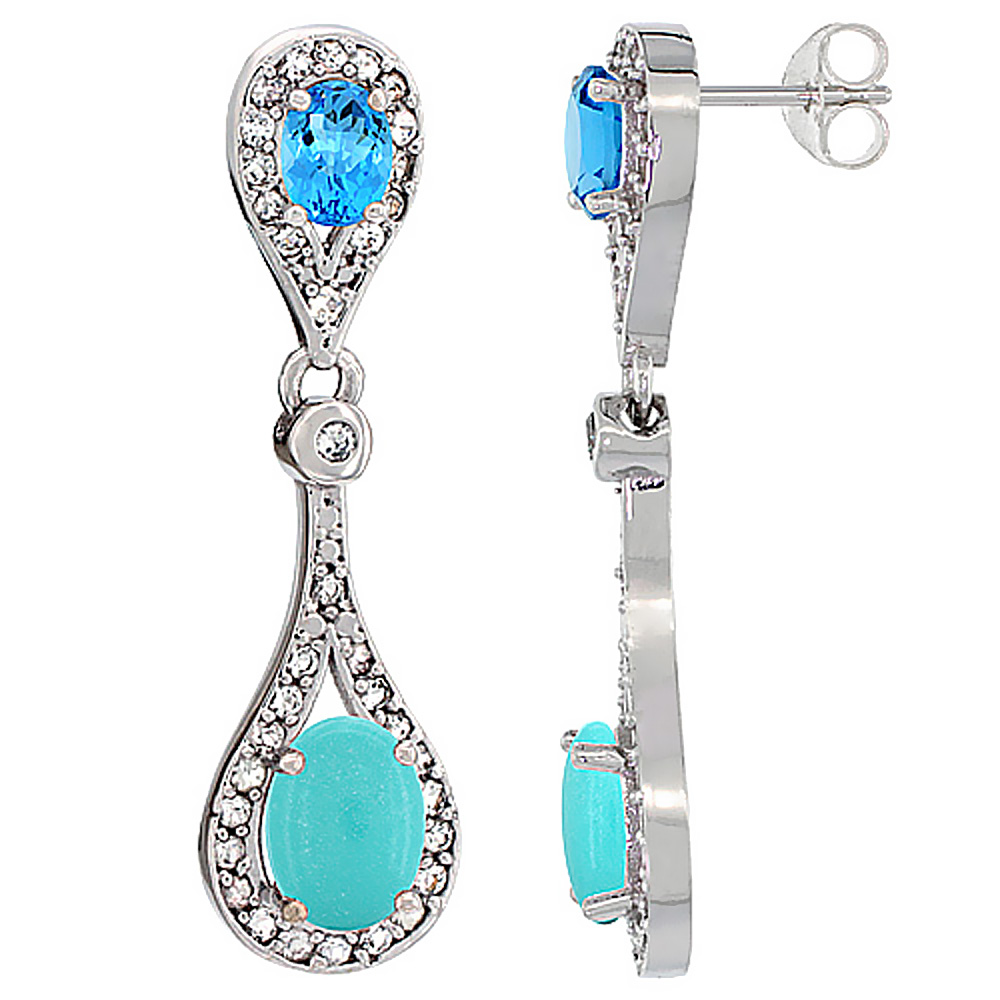 14K White Gold Natural Turquoise & Swiss Blue Topaz Oval Dangling Earrings White Sapphire & Diamond Accents, 1 3/8 inches long