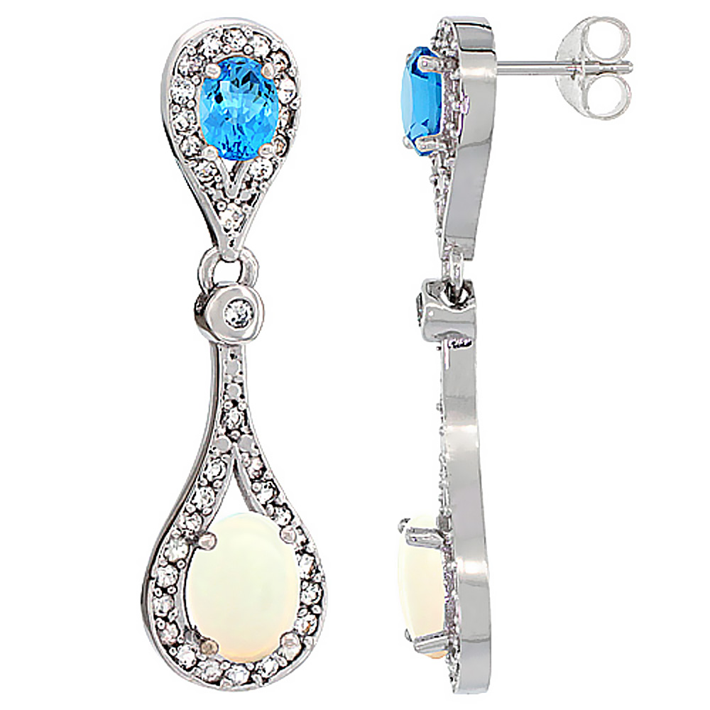 14K White Gold Natural Opal & Swiss Blue Topaz Oval Dangling Earrings White Sapphire & Diamond Accents, 1 3/8 inches long