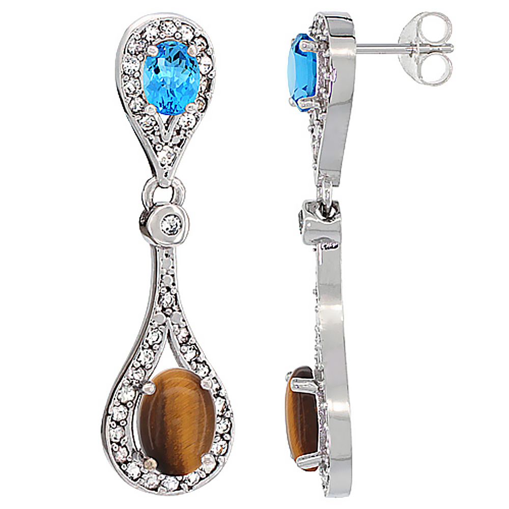 14K White Gold Natural Tiger Eye & Swiss Blue Topaz Oval Dangling Earrings White Sapphire & Diamond Accents, 1 3/8 inches long