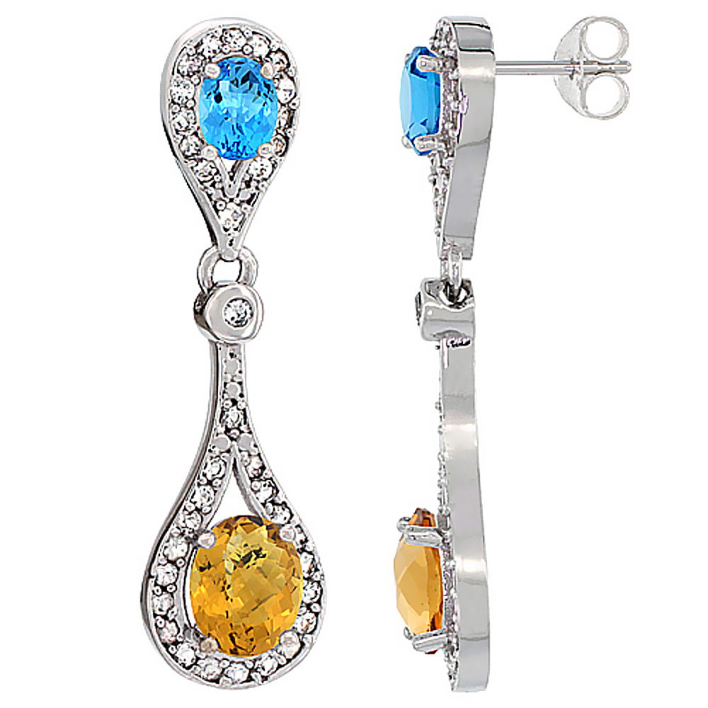 14K White Gold Natural Whisky Quartz & Swiss Blue Topaz Oval Dangling Earrings White Sapphire & Diamond Accents, 1 3/8 inches lo
