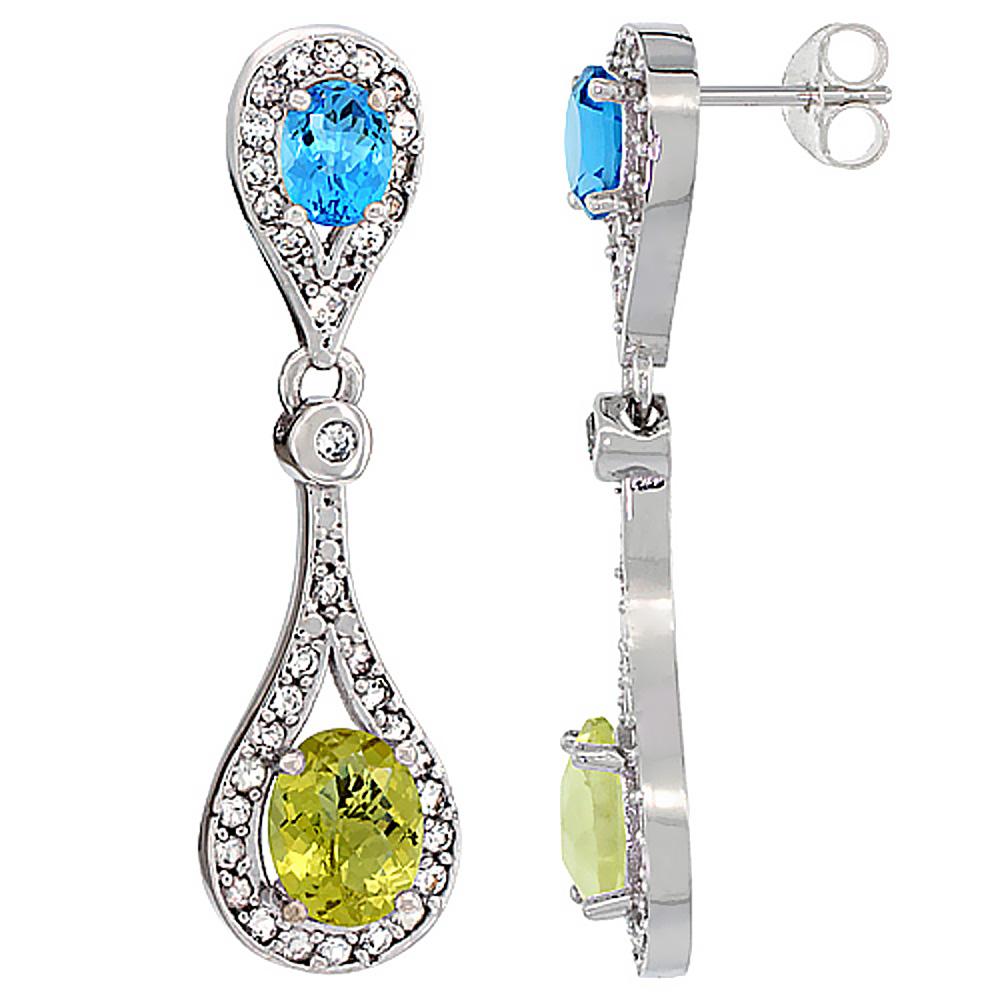 14K White Gold Natural Lemon Quartz & Swiss Blue Topaz Oval Dangling Earrings White Sapphire & Diamond Accents, 1 3/8 inches lon