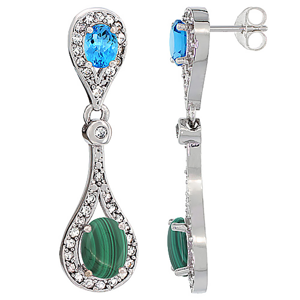 14K White Gold Natural Malachite & Swiss Blue Topaz Oval Dangling Earrings White Sapphire & Diamond Accents, 1 3/8 inches long