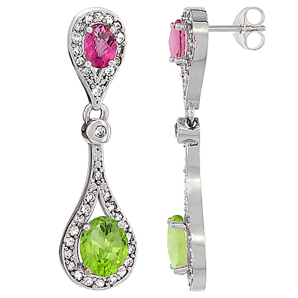 14K White Gold Natural Peridot & Pink Topaz Oval Dangling Earrings White Sapphire & Diamond Accents, 1 3/8 inches long