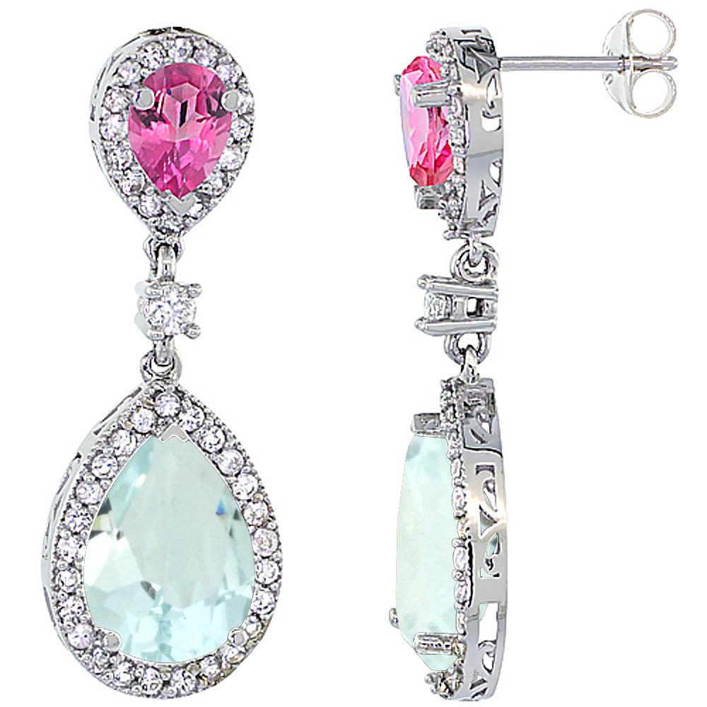 14K White Gold Natural Aquamarine & Pink Topaz Teardrop Earrings White Sapphire & Diamond