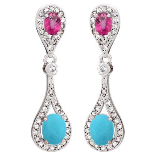 14K White Gold Natural Turquoise & Pink Topaz Oval Dangling Earrings White Sapphire & Diamond Accents, 1 3/8 inches long