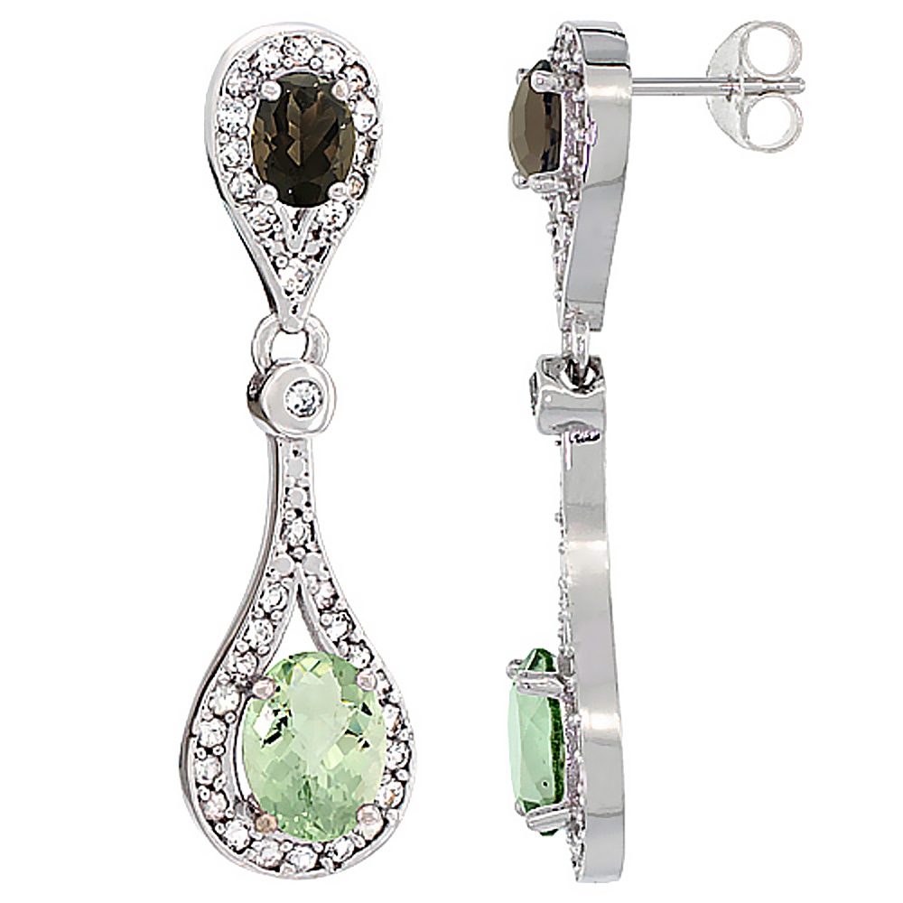 14K White Gold Natural Green Smoky Topaz & Smoky Topaz Oval Dangling Earrings White Sapphire & Diamond Accents, 1 3/8 inches lon