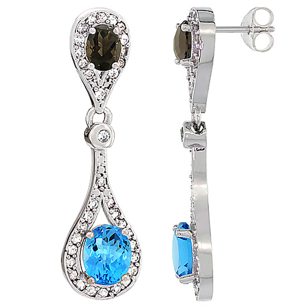 14K White Gold Natural Swiss Blue Topaz & Smoky Topaz Oval Dangling Earrings White Sapphire & Diamond Accents, 1 3/8 inches long
