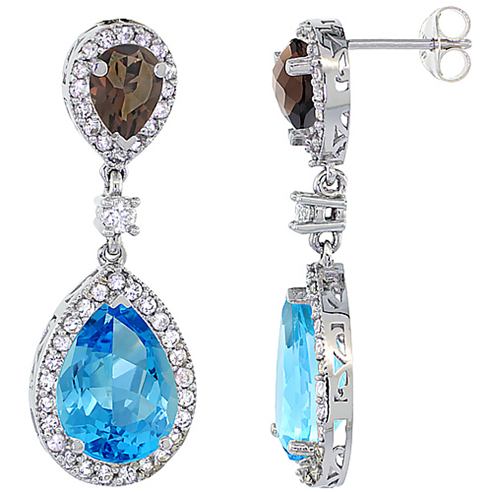 14K White Gold Natural Swiss Blue Topaz & Smoky Topaz Teardrop Earrings White Sapphire & Diamond