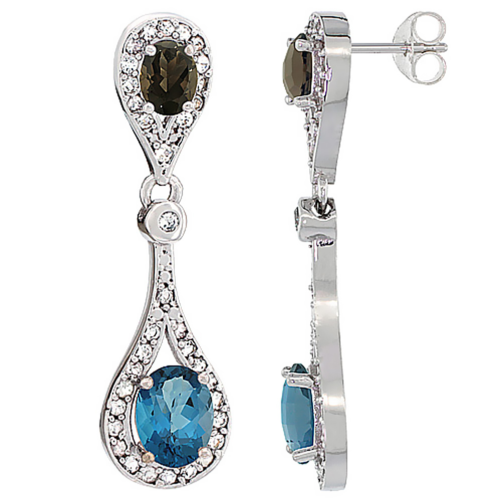 14K White Gold Natural London Blue Topaz & Smoky Topaz Oval Dangling Earrings White Sapphire & Diamond Accents, 1 3/8 inches lon