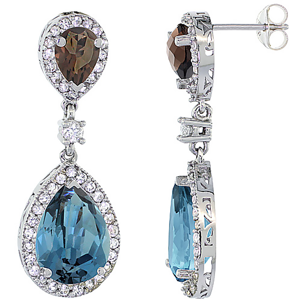 14K White Gold Natural London Blue & Smoky Topazes Teardrop Earrings White Sapphire & Diamond
