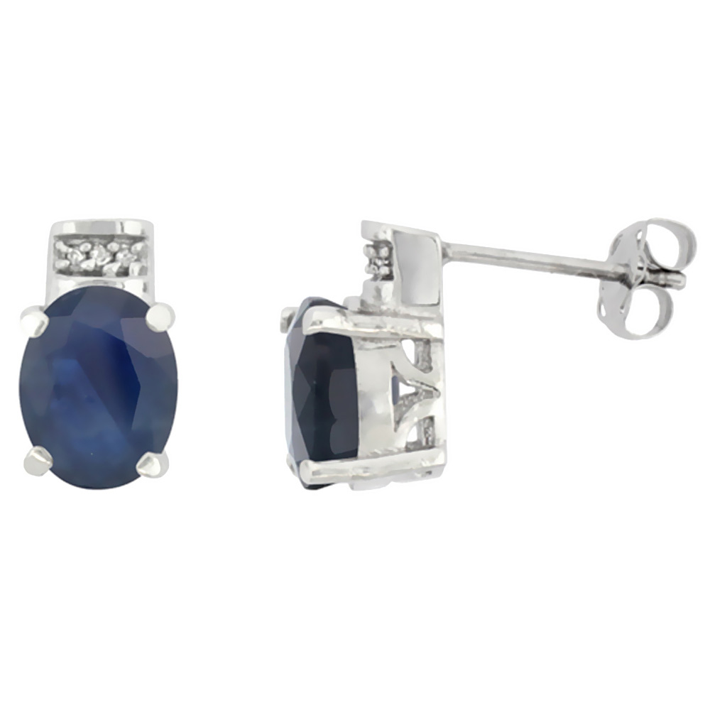 10K White Gold Diamond Natural Quality Blue Sapphire Earrings Oval 8x6 mm
