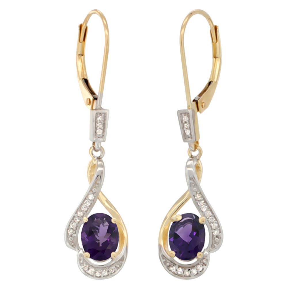 14K Yellow Gold 0.13 cttw Diamond Natural Amethyst Leverback Earrings Oval 7x5 mm, 1 7/16 inch long
