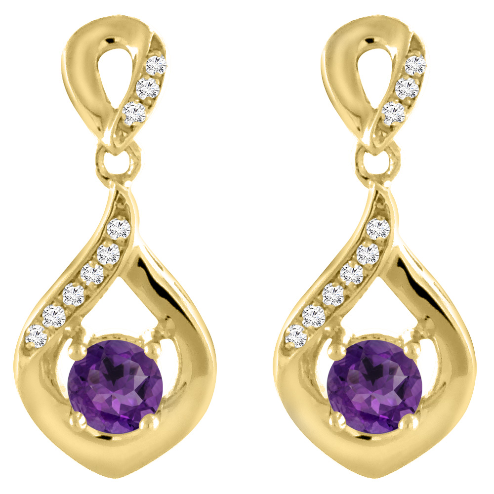 14K Yellow Gold Natural Amethyst Earrings with Diamond Accents Round 4 mm