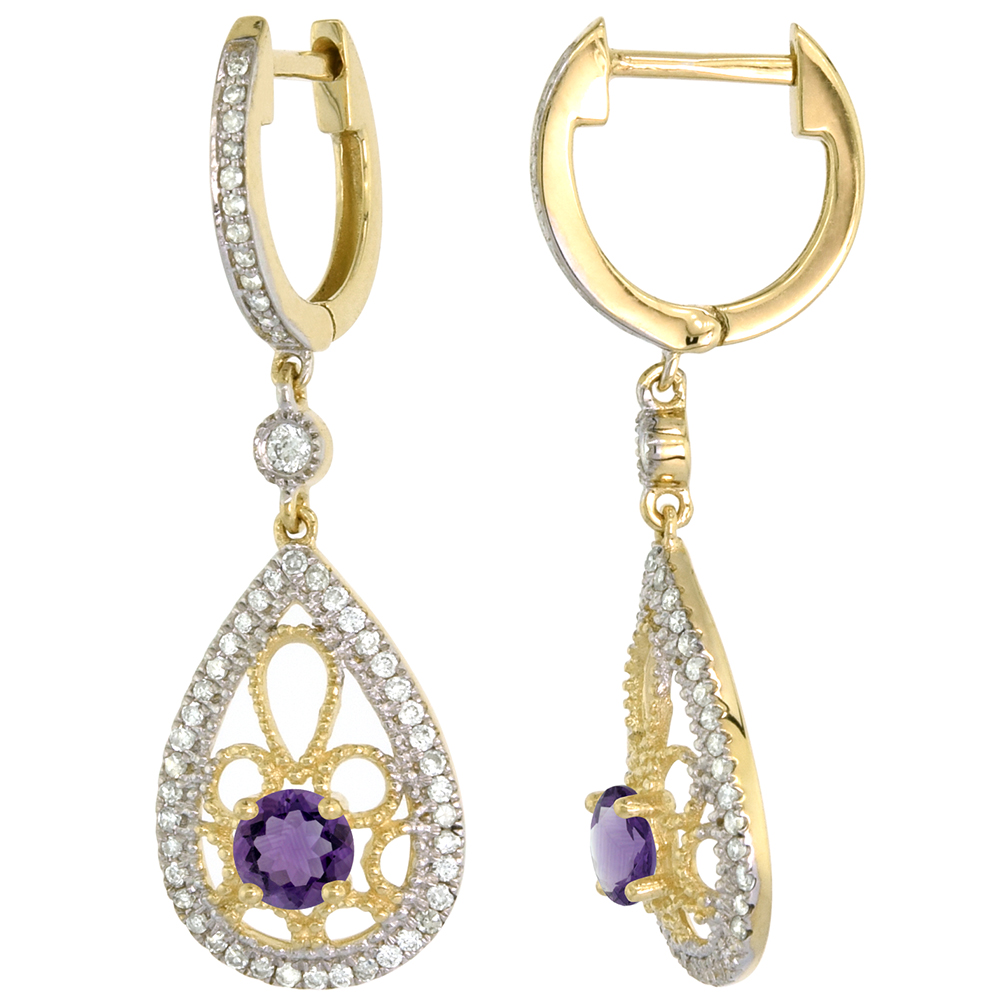 14k Yellow Gold Natural Amethyst Teardrop Earrings 3.5mm Round with 0.47 cttw Diamonds 3/4 inch long