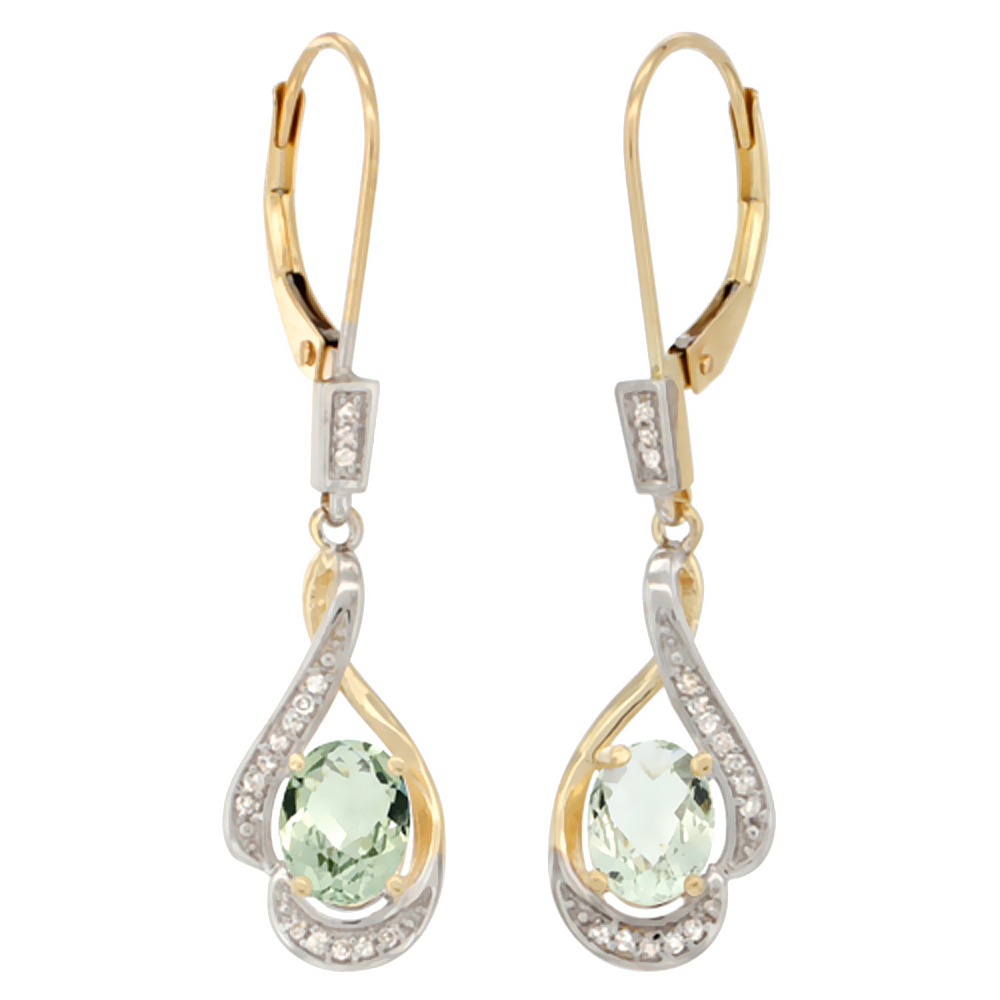 14K Yellow Gold 0.13 cttw Diamond Natural Green Amethyst Leverback Earrings Oval 7x5mm, 1 7/16 inch long