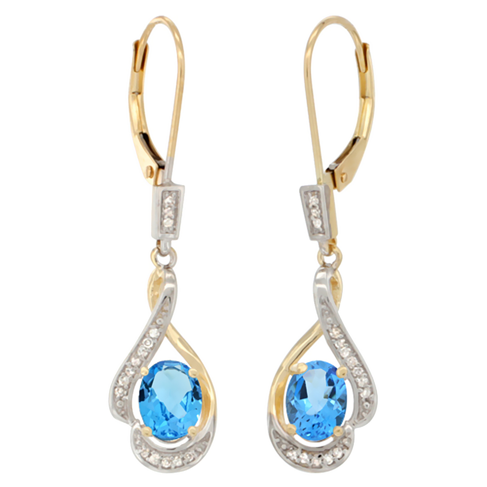 14K Yellow Gold 0.13 cttw Diamond Natural Swiss Blue Topaz Leverback Earrings Oval 7x5mm,1 7/16 inch long