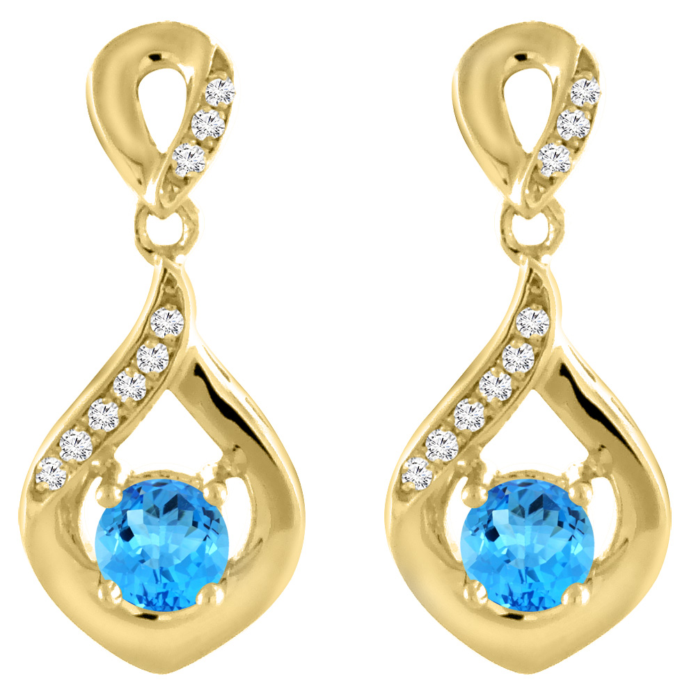 14K Yellow Gold Natural Swiss Blue Topaz Earrings with Diamond Accents Round 4 mm