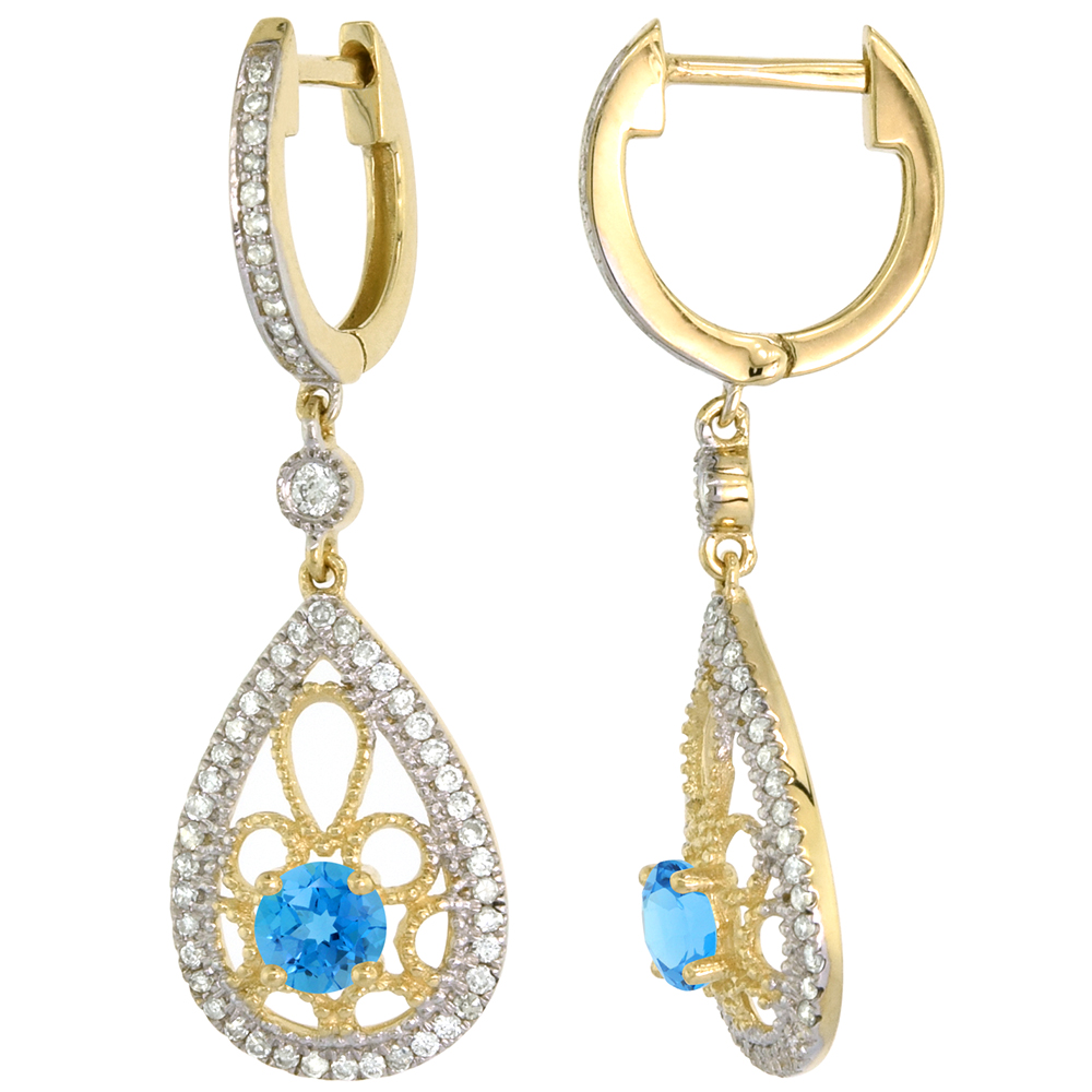 14k Yellow Gold Natural Swiss Blue Topaz Teardrop Earrings 3.5mm Round with 0.47 cttw Diamonds 3/4 inch long