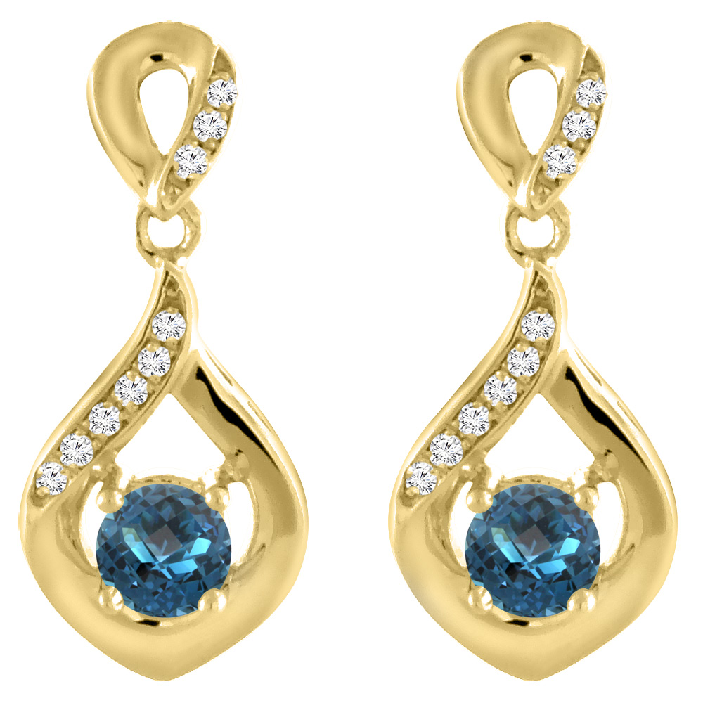 14K Yellow Gold Natural London Blue Topaz Earrings with Diamond Accents Round 4 mm