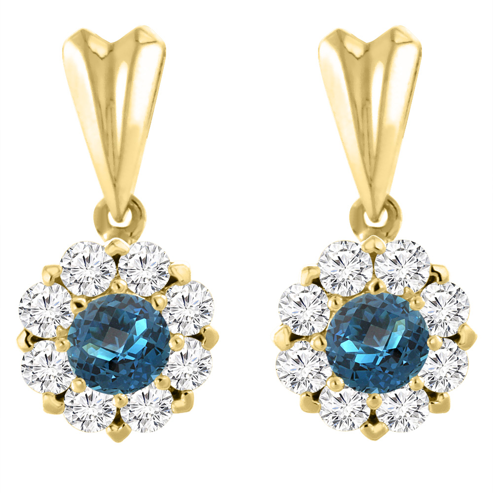 14K Yellow Gold Natural London Blue Topaz Earrings with Diamond Halo Round 4 mm