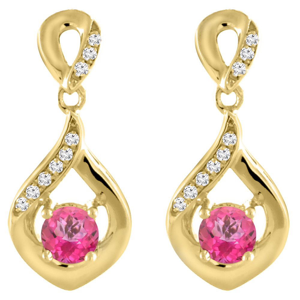 14K Yellow Gold Natural Pink Topaz Earrings with Diamond Accents Round 4 mm