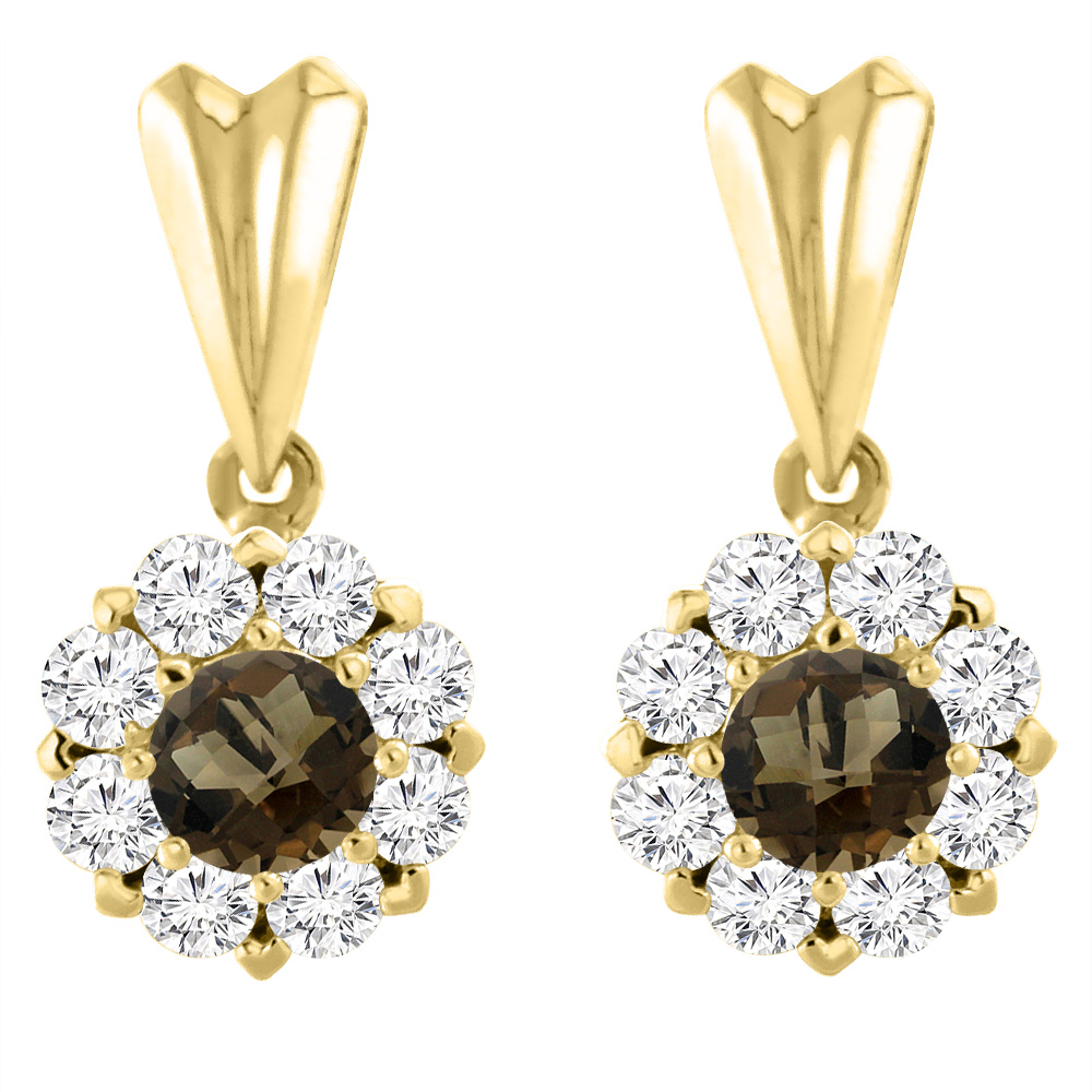 14K Yellow Gold Natural Smoky Topaz Earrings with Diamond Halo Round 4 mm