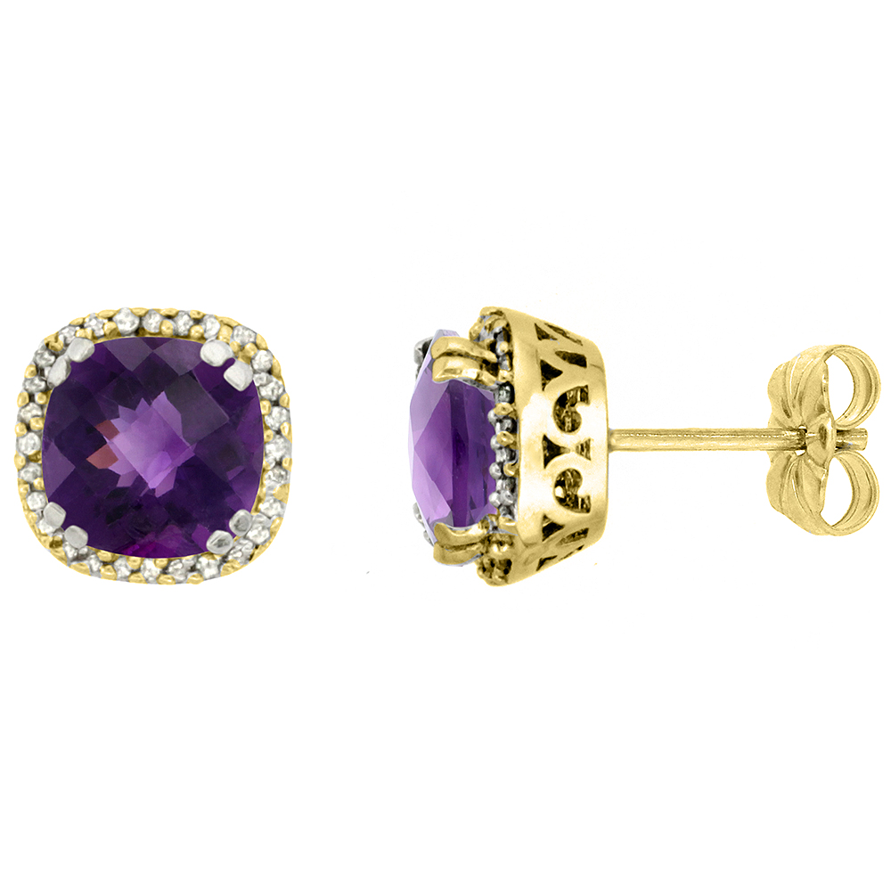 10K Yellow Gold Diamond Natural Amethyst Earrings Cushion 7x7 mm