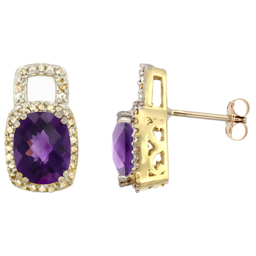 10K Yellow Gold Diamond Natural Amethyst Earrings Octagon Cushion 8x6 mm