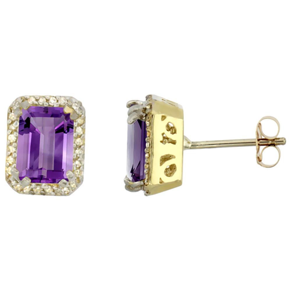10K Yellow Gold Diamond Natural Amethyst Earrings Octagon 7x5 mm