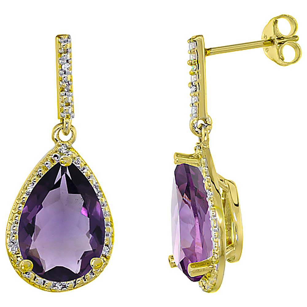 10K Yellow Gold Diamond Halo Natural Amethyst Dangle Earrings Pear Shaped 12x8 mm