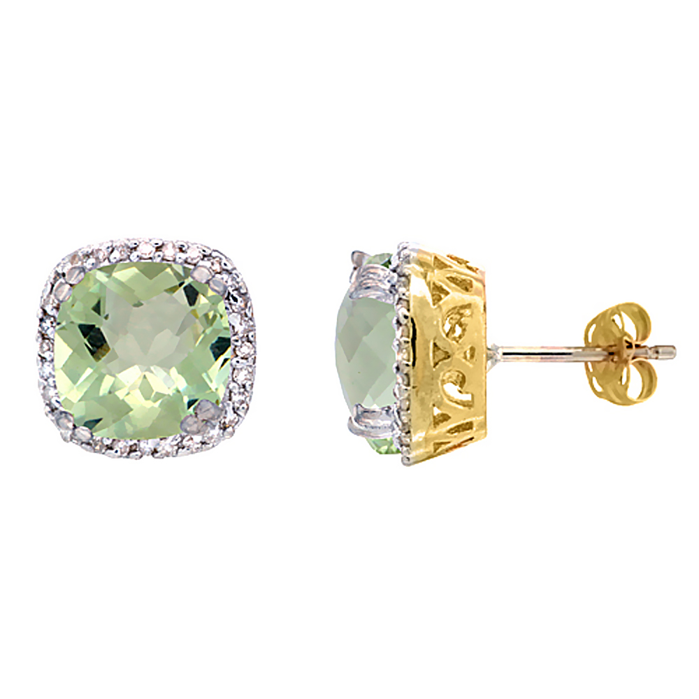 10K Yellow Gold Diamond Natural Green Amethyst Earrings Cushion 7x7 mm
