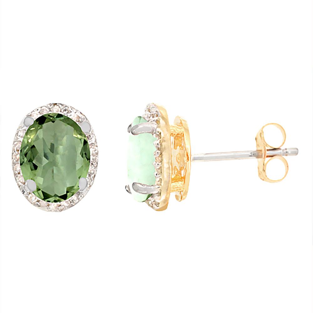 10K Yellow Gold Diamond Natural Green Amethyst Earrings Oval 7x5 mm