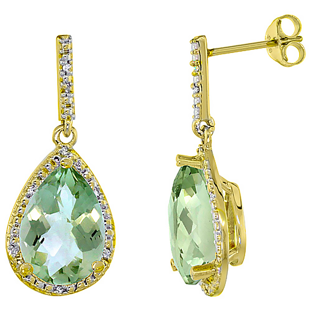 10K Yellow Gold Diamond Halo Natural Green Amethyst Dangle Earrings Pear Shaped 12x8 mm