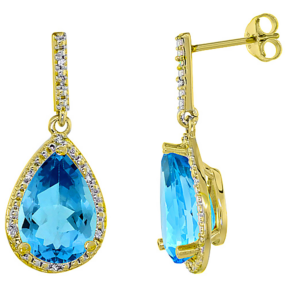10K Yellow Gold Diamond Natural Swiss Blue Topaz Earrings Pear Shape 12x8 mm