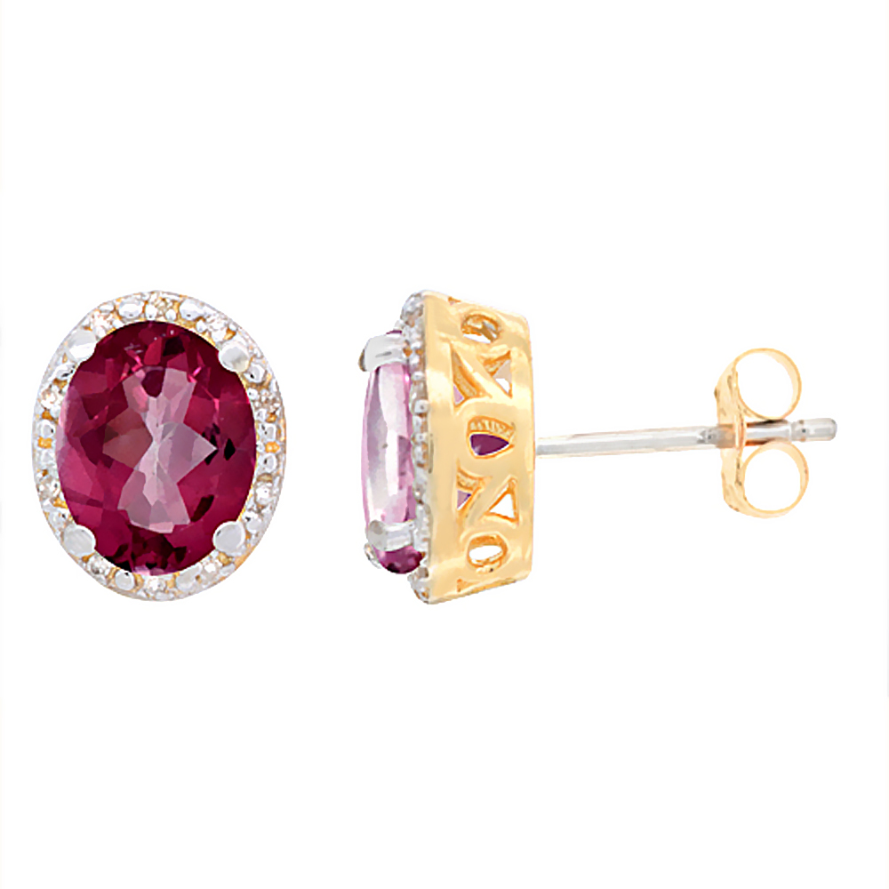 10K Yellow Gold Diamond Natural Pink Sapphire Earrings Oval 8x6 mm
