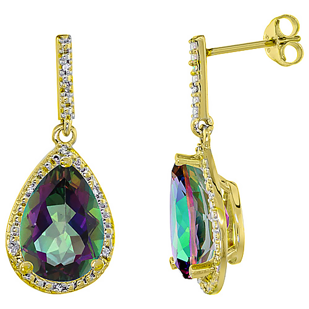 10K Yellow Gold Diamond Natural Mystic Topaz Earrings Pear Shape 12x8 mm