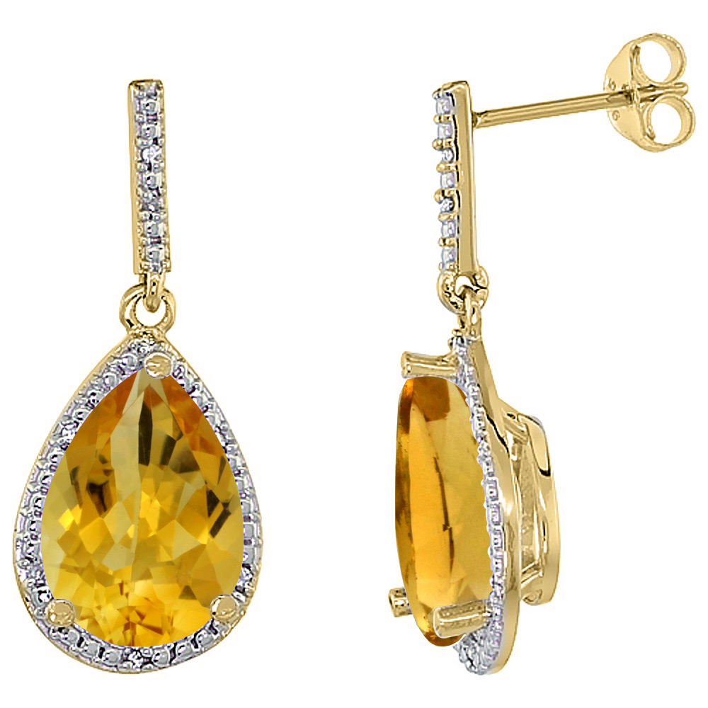 10K Yellow Gold Diamond Halo Natural Citrine Dangle Earrings Pear Shaped 12x8 mm