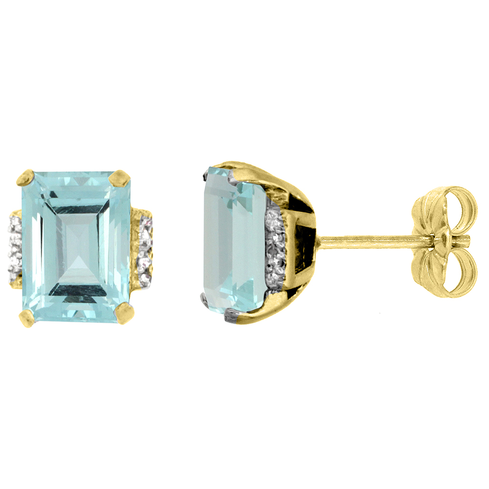 10K Yellow Gold Diamond Natural Aquamarine Earrings Octagon 8x6 mm