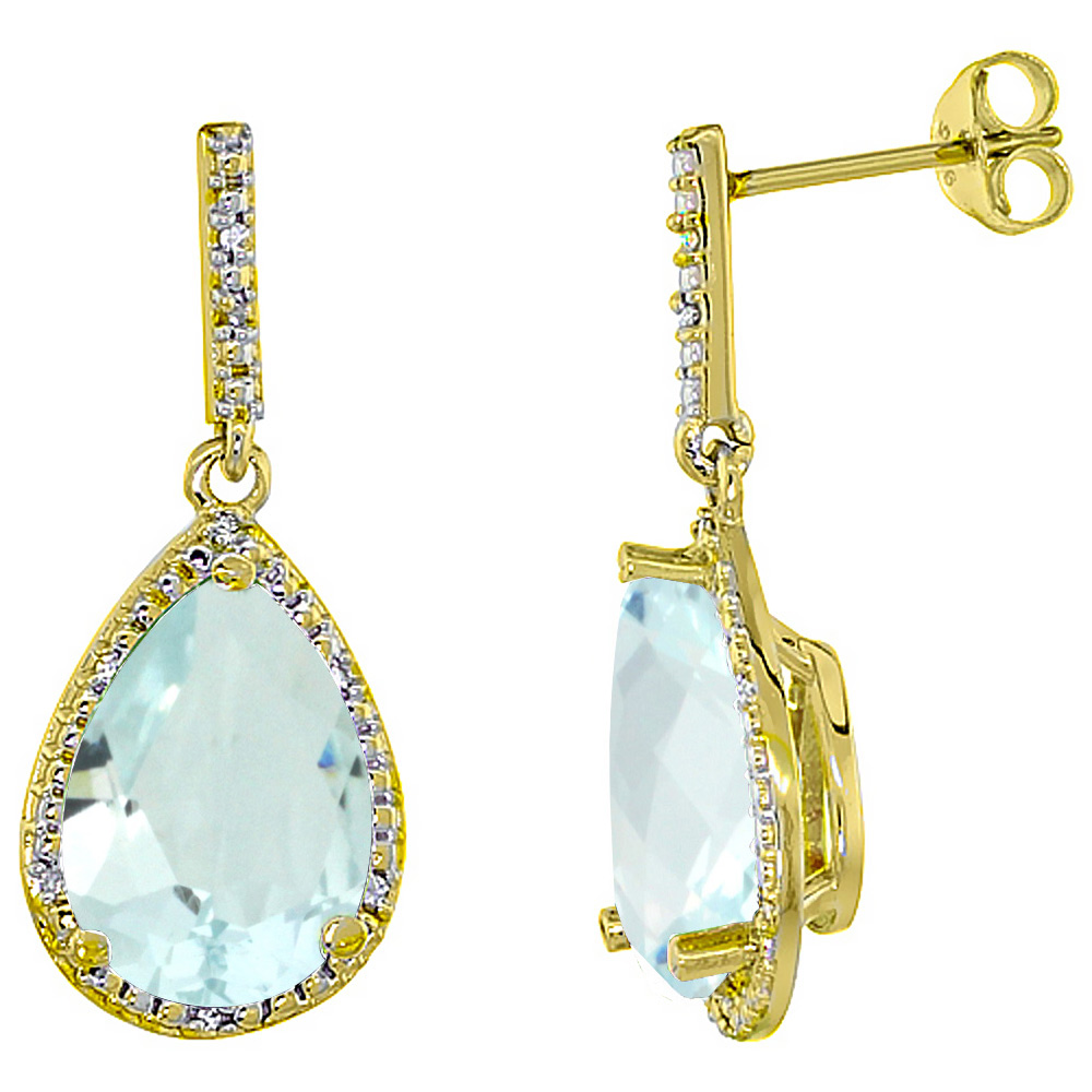 10K Yellow Gold Diamond Halo Natural Aquamarine Dangle Earrings Pear Shaped 12x8 mm