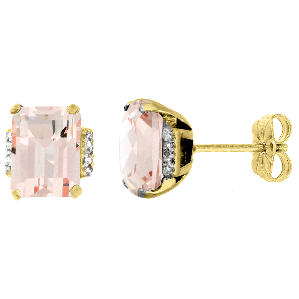 10K Yellow Gold 0.02 cttw Diamond Natural Morganite Earrings Octagon 8x6 mm