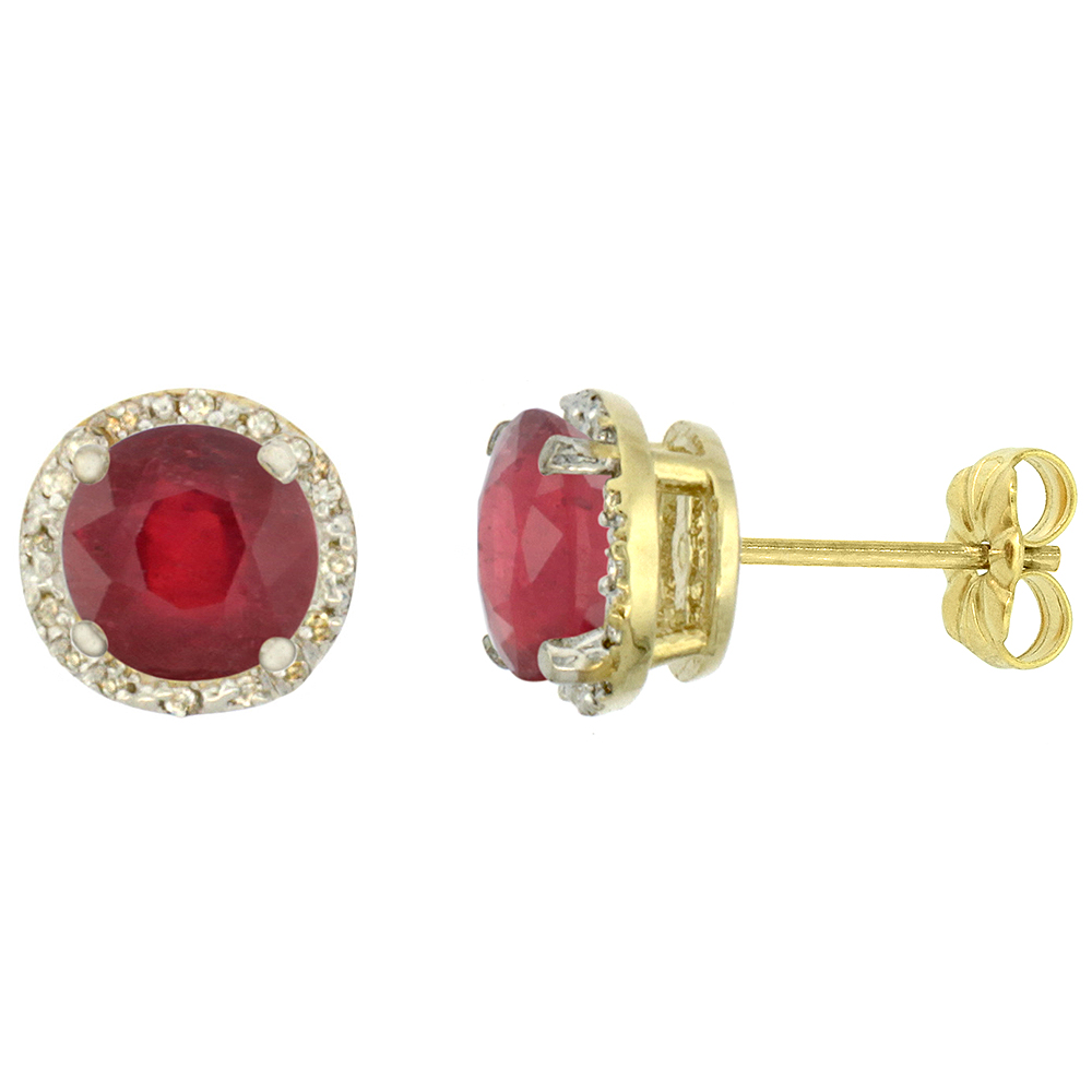 10K Yellow Gold 0.06 cttw Diamond Enhanced Genuine Ruby Earrings Round 7x7 mm