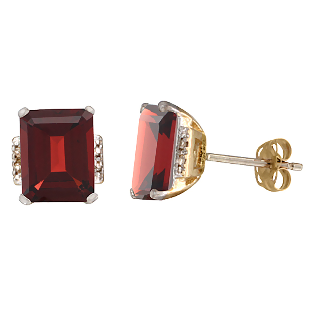 10K Yellow Gold 0.02 cttw Diamond Enhanced Genuine Ruby Earrings Octagon 8x6 mm