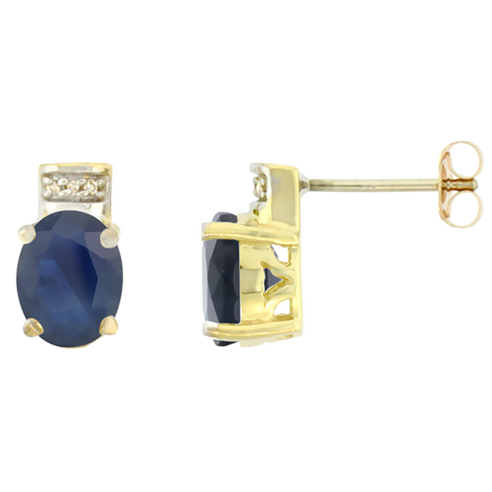 10K Yellow Gold Diamond Natural Australian Sapphire Earrings Oval 8x6 mm