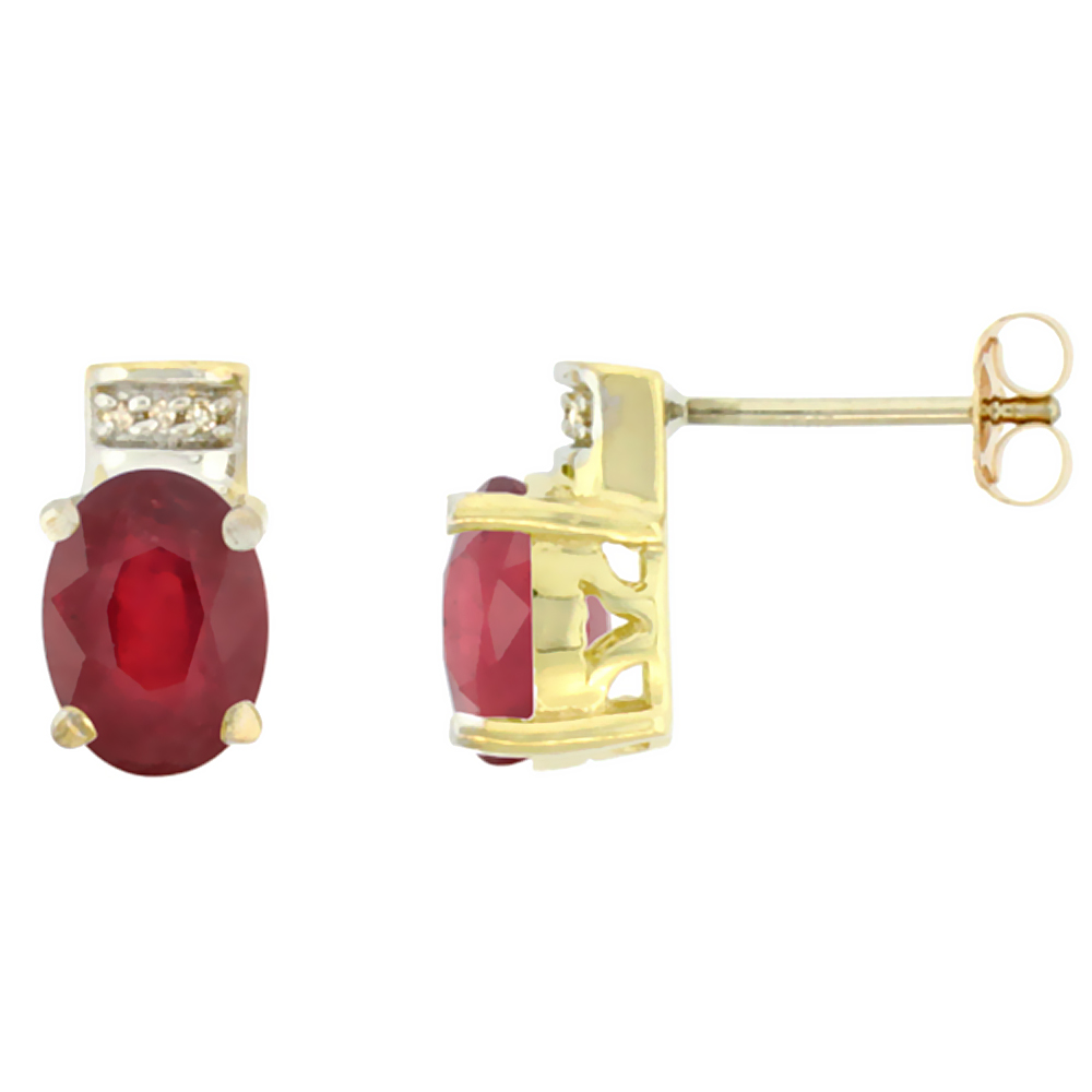10K Yellow Gold Diamond Natural Ruby Earrings Oval 8x6 mm