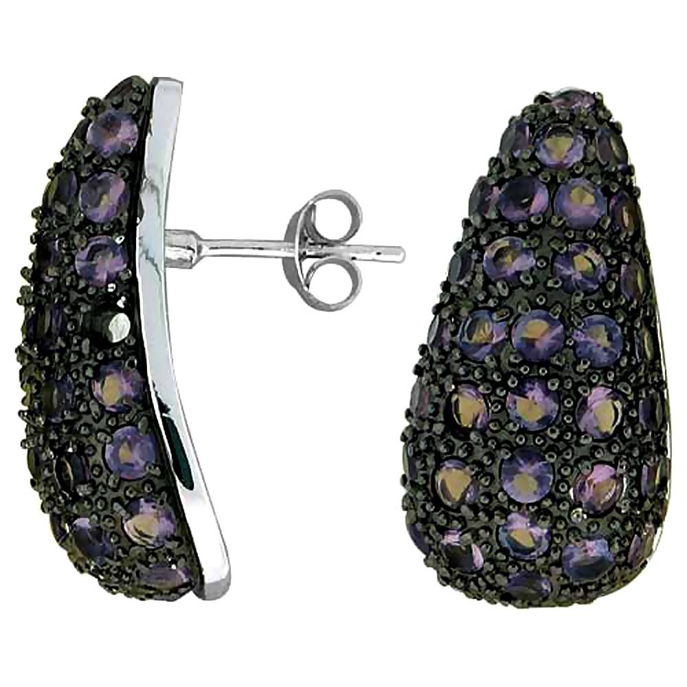 Sterling Silver Cubic Zirconia Post Earrings Teardrop Purple CZ Rhodium finish, 1 inch