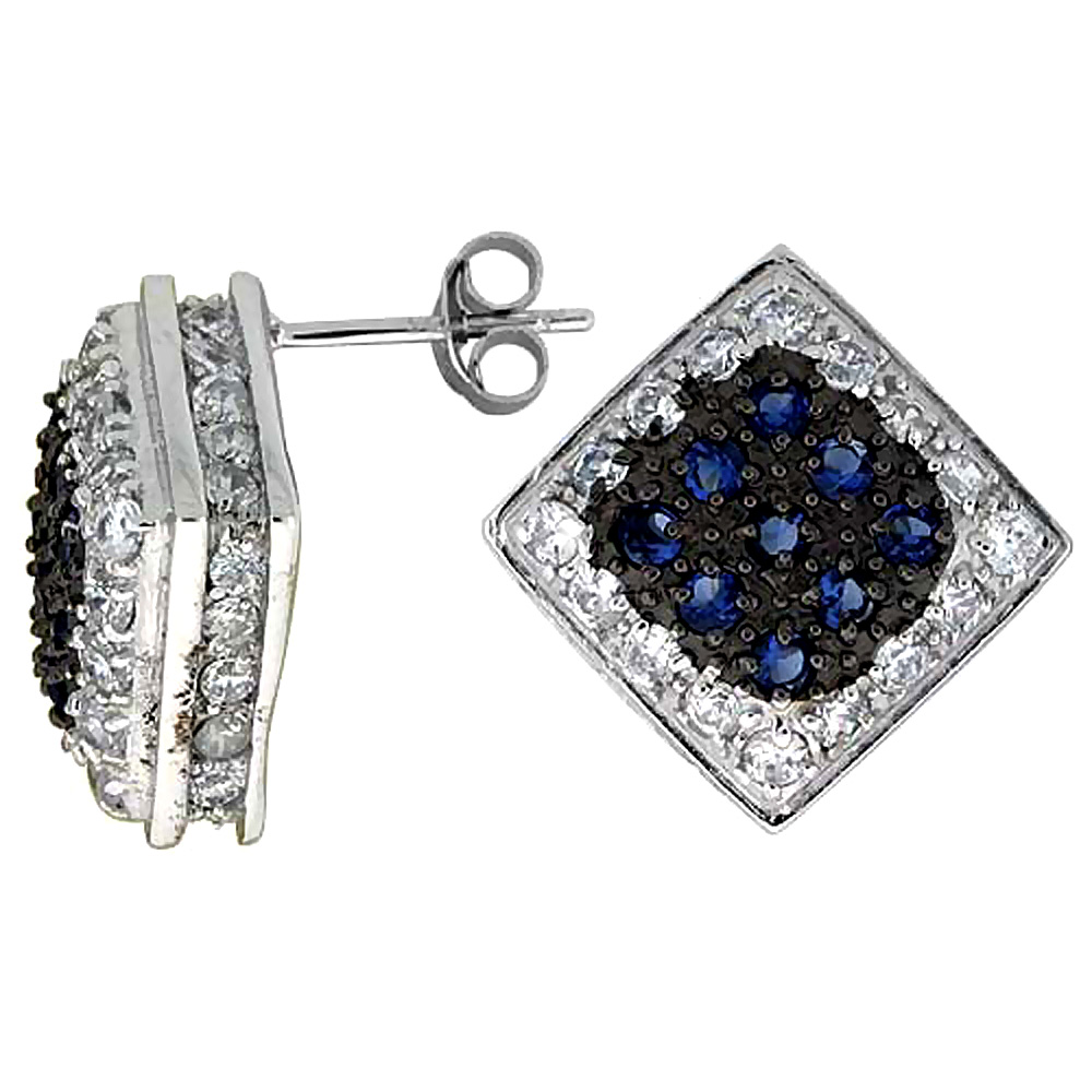 Sterling Silver Cubic Zirconia Square Post Earrings Blue & White CZ stones Rhodium finish, 3/4 inch