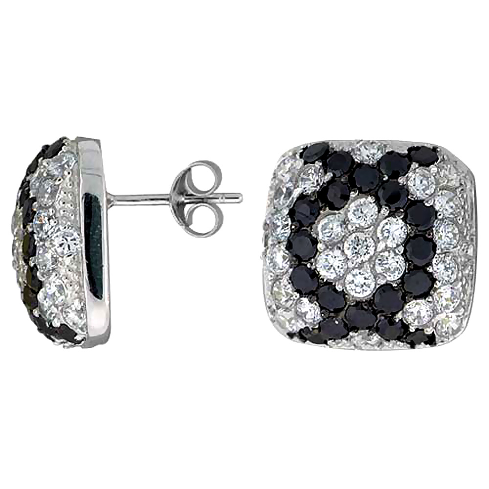 Sterling Silver Cubic Zirconia Square Post Earrings Black & White CZ stones Rhodium finish 5/8 inch